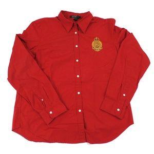 Ralph Lauren Red Blouse Stitched Crest L